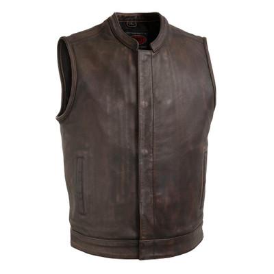 Men's  Copper Top Rocker Leather Motorcycle Vest