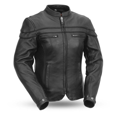 Sporty Women's Motorcycle Leather Jacket