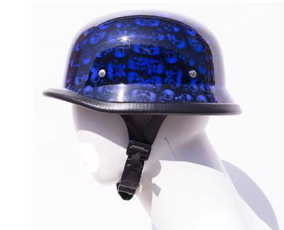 Blue Skull Graveyard German Motorcycle Novelty Helmet