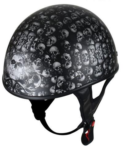 Flat Black Motorcycle Helmet With Skulls Graphic