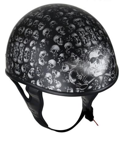 Shine Black Motorcycle Helmet With Skulls Graphic