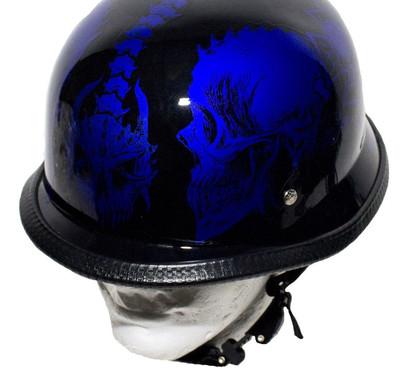 Graphic Blue Skull German Novelty Helmet