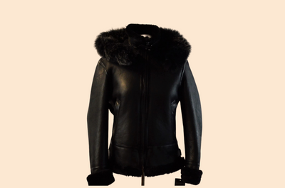Women Original Shearling  with hood and detactable fur
