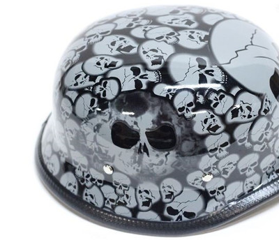 Graveyard German Novelty Helmet Gray Skull
