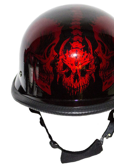 Burgundy Novelty Helmet with Horned Skeletons