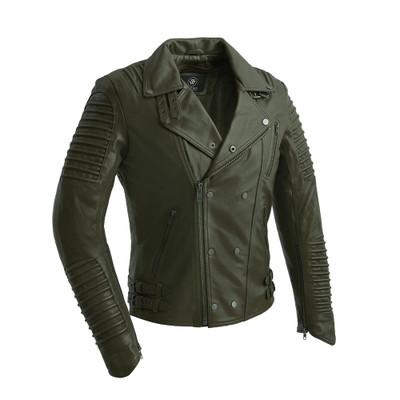 Brooklyn Moto Inspired Lather Jacket Olive