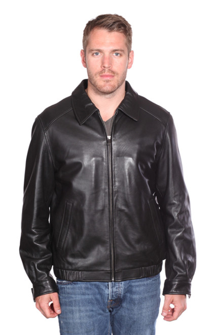 MEN CLASSIC  LEATHER BOMBER JACKET