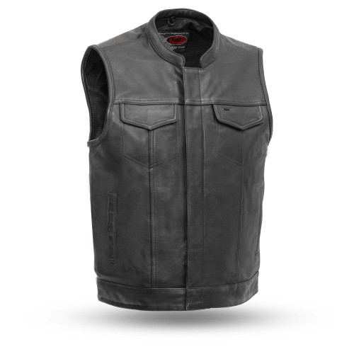 Sharp Shooter Biker Drum Dye Cowhide Leather Club Vest