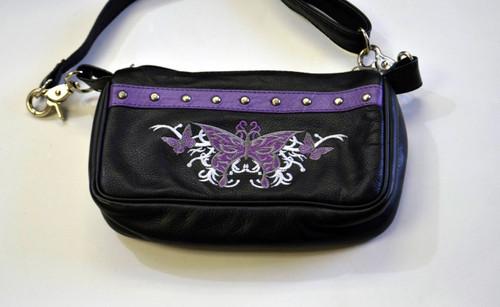 Leather Belt Bag Hip Purse Embroidered Eagle purple Silver