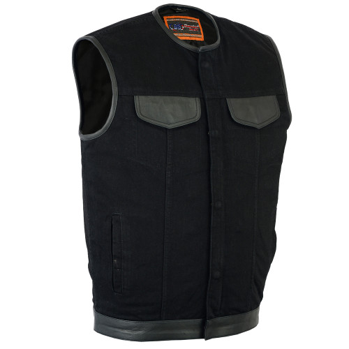 Men's Black Denim Single Panel Concealment Vest Leather Trim Collar