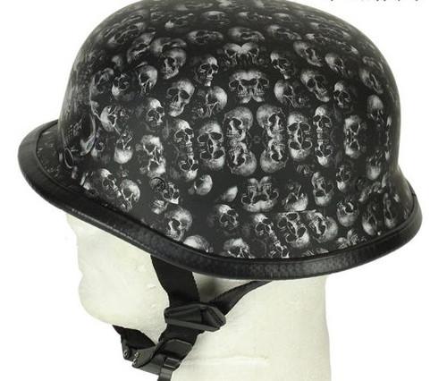 Grey Flat (not shine) Skull Graveyard German Novelty Helmet