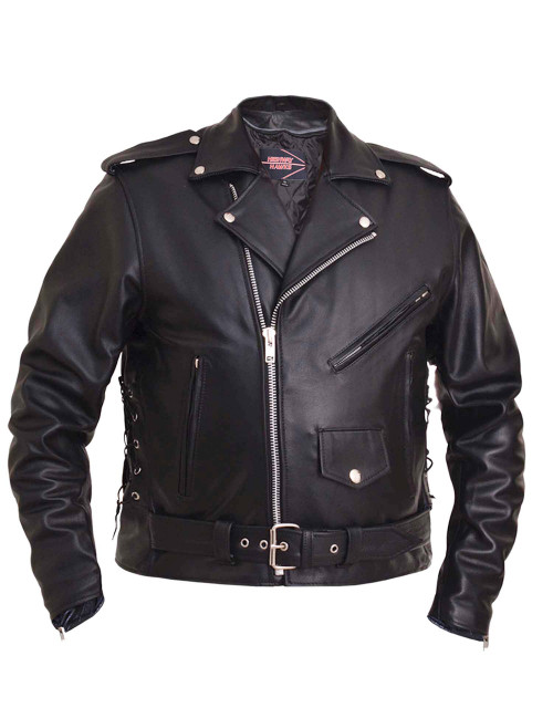 Big Men biker classic Leather jacket  with side laces