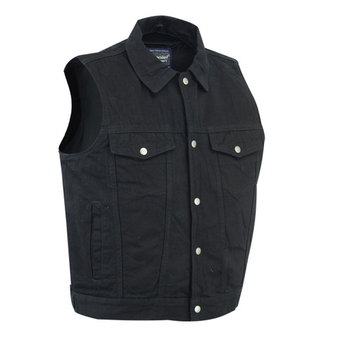 Classic Snap Front Denim Vest- Black