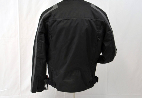 MENS TEXTILE BLACK/ GRAY MOTORCYCLE JACKET - VENTED