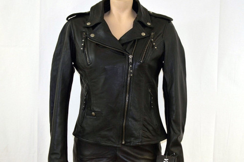 Ladies Soft Leather With Removable Hoodie