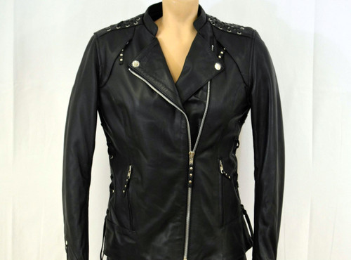 Ladies Laces  detailed soft  biker leather