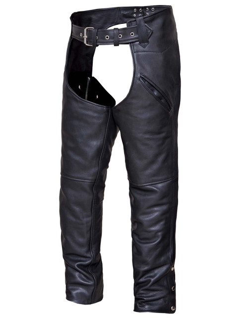 Unisex Naked Leather Deep Pocket Motorcycle Chaps