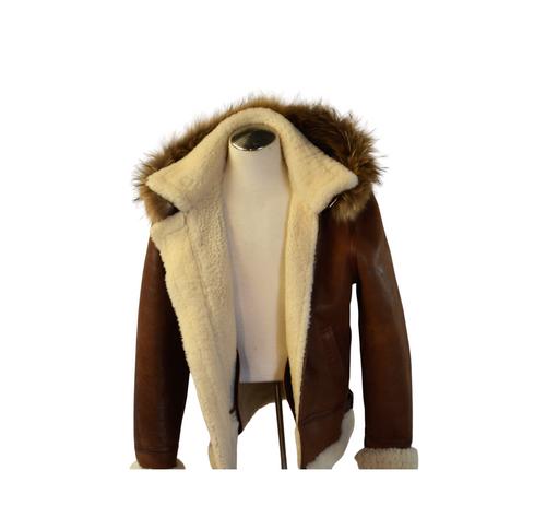 Shearling Sheepskin Aviator Bomber/W -Hood