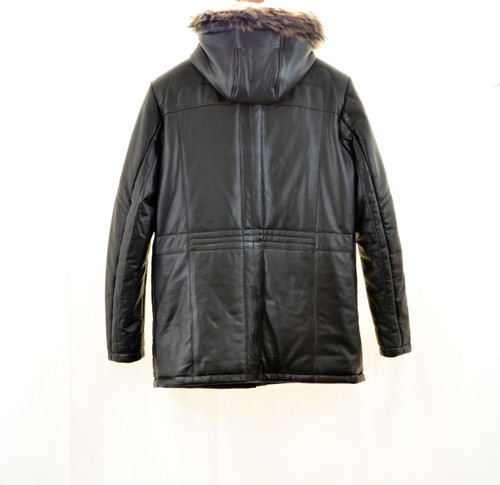 Men Leather Parka With hood