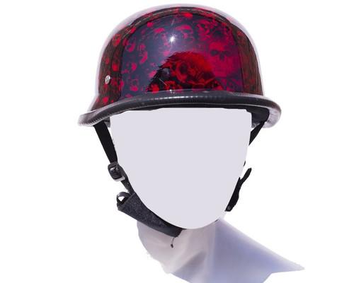 Burgundy Skull Graveyard German Motorcycle Novelty Helmet