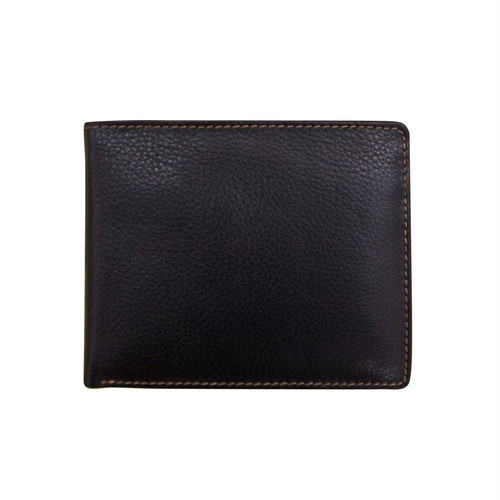 Leather bi-fold men's wallet Black/Toffee