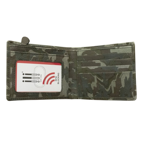 leather bi-fold men's wallet with zip pocket