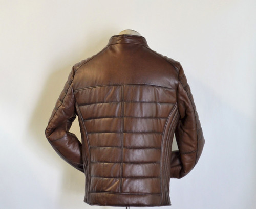 Men Slim Fit Leather Jacket with low stand Collar