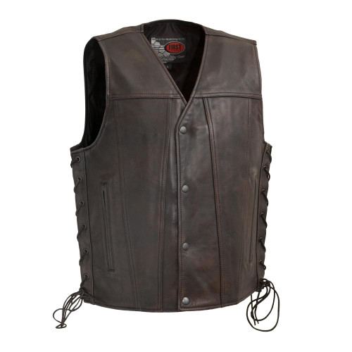 Men's High Roller Leather  Vest Copper Color