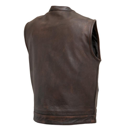 Men's  Copper Top Rocker Leather Motorcycle Vest