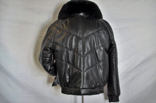 Men V Bomber Leather With Removable Fur Collar