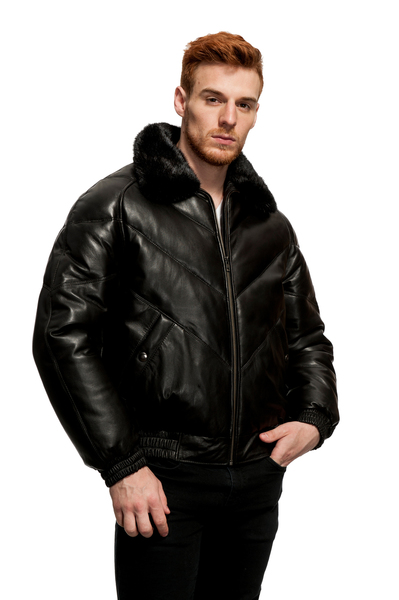a9b0dad13b4 Original Goose Leather Down Filled Bomber mink collar