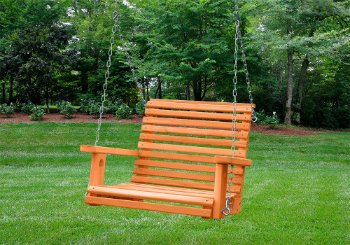 Outdoor profile of Cedar Babysitter Swing from Swingworks