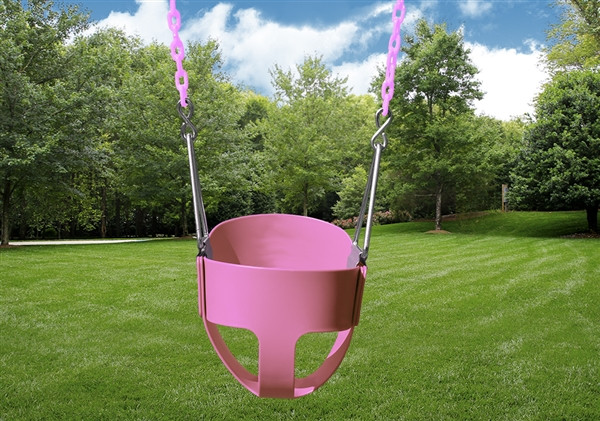 Toddler Full Bucket Swing with Chain - Pink
