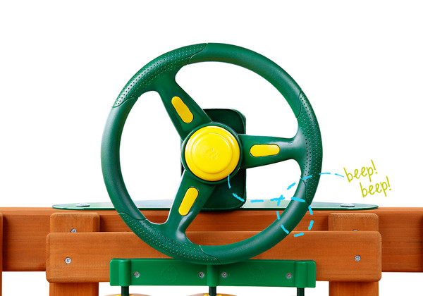 Front view of Rally Racing Wheel with working horn from Swingworks.