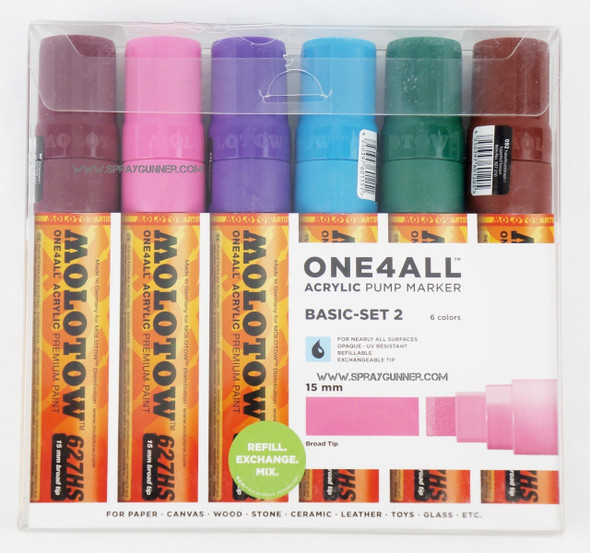 Molotow ONE4ALL 6 colors basic-2 set 15mm 200.460 MOLOTOW