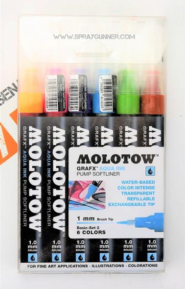 Molotow GRAFX Aqua Ink 6 Color Basic-Set2 1mm Brush Tip 200.463 MOLOTOW