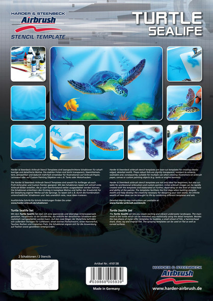 Harder and Steenbeck Airbrushing stencil set Turtle Sealife 410138 Harder and Steenbeck
