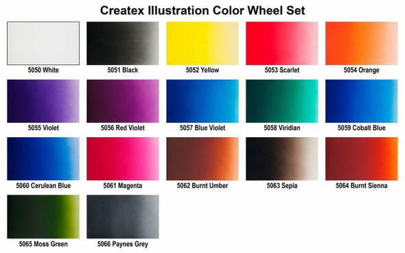 Createx Illustration Colors Wheel Set 1oz 5080-01 Createx