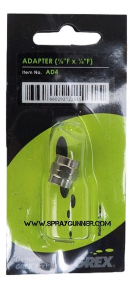Grex 1/8 Female to 1/8 Female Adapter AD4 Grex Airbrush