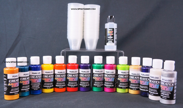 Createx Airbrush Colors Pearlized 14 Color Set CC14pearl Createx