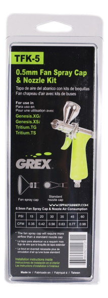 0.5mm Fan Spray Cap and Nozzle Kit TFK-5 Grex Airbrush
