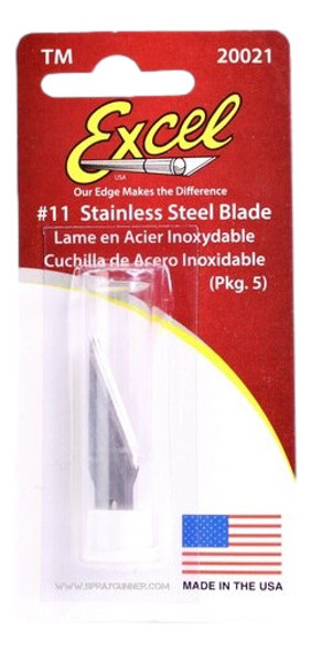 Excel 20021 Stainless Steel Knife Blades 5pc 20021 Excel Hobby Blades