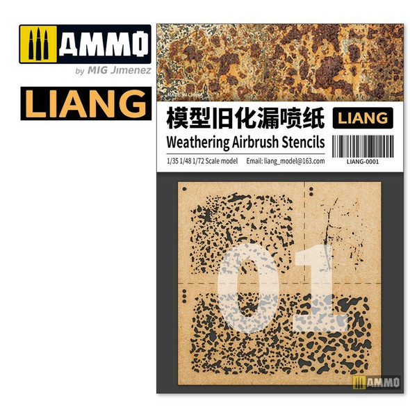 AMMO by MIG Weathering Airbrush Stencils LIANG-0001 AMMO by MIG