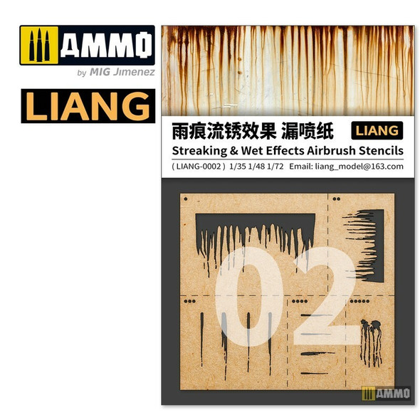 AMMO by MIG Streaking and Wet Effects Airbrush Stencils LIANG-0002 AMMO by MIG