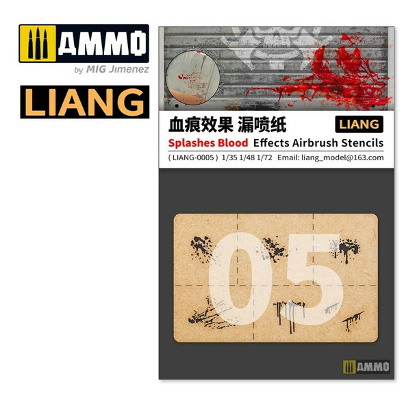 AMMO by MIG Splashes Blood Effects Airbrush Stencils LIANG-0005 AMMO by MIG