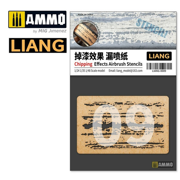AMMO by MIG Chipping Effects Airbrush Stencils LIANG-0009 AMMO by MIG