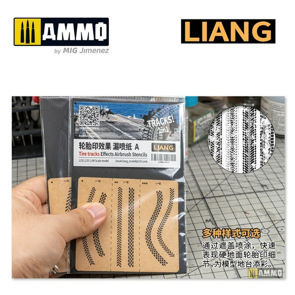 AMMO by MIG Tire Tracks Effects Airbrush Stencils B LIANG-0011 AMMO by MIG