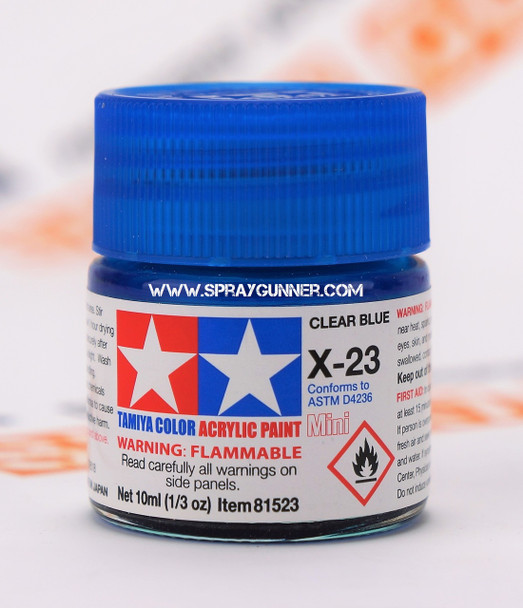 Tamiya Acrylic Model Paints: Clear Blue (X-23)