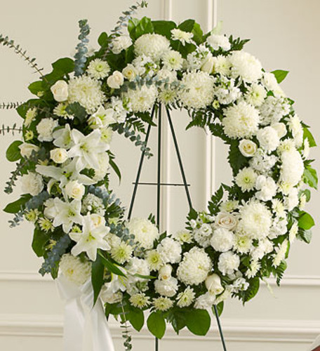 Serene Blessings White Standing Wreath Flowers Cypress California