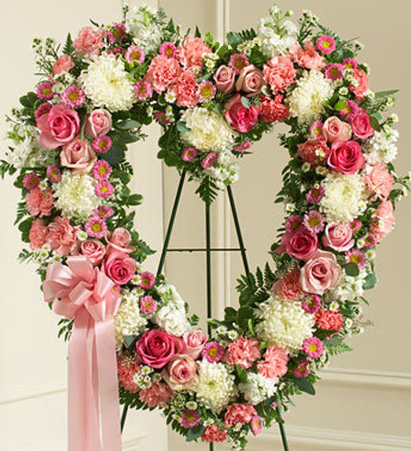 Always Remember Pink Floral Heart Tribute Cypress California Flower Delivery